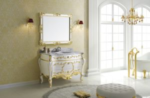 Classical Gold Paper Bathroom Cabinet