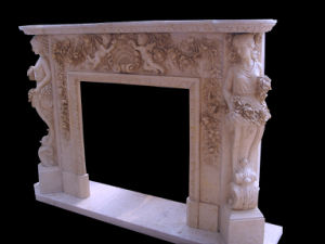 Beige Marble Angel Carving Fireplace pictures & photos