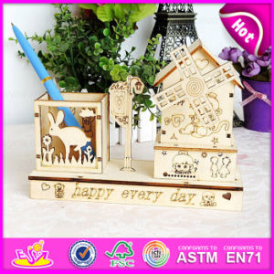 2015 Cheap Wooden Craft for Kids, Wooden Music Box with Pen Holder, High Quality Wooden Craft Boxes for Decoration W02A033 pictures & photos