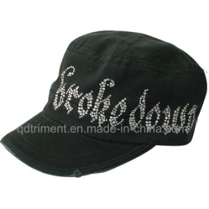 Grinding Washed Rhinestone Leisure Army Military Cap (TRM007) pictures & photos
