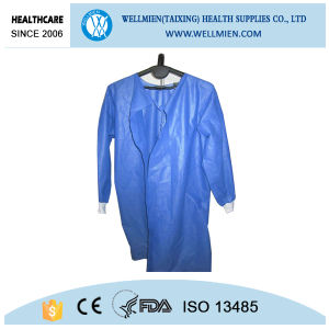 Blue Color Knitted Cuff Surgical Gowns Hospital Non Woven Disposable Gown pictures & photos