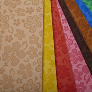 High Quatity PU Synthetic Leather with Flower Printing (YEF86XX-201E) pictures & photos