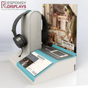 Counter Acrylic Custom Earphone Store Display Stand with a Poster Background pictures & photos