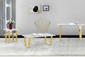 Luxury Home Interior Stainless Steel White Marble Top Dining Table Set pictures & photos