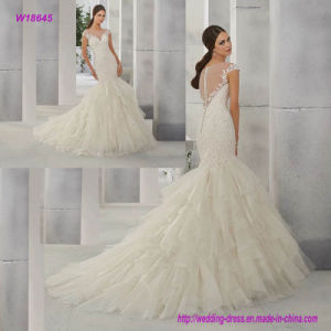W18645 Attractive Lace Appliques Cap Sleeves Bodice Mermaid Wedding Dress with Multi Layers Skirt and Chapel Train pictures & photos