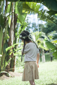 Fashion Summer Children Clothing Linen Cotton Blend Girls T-Shirt pictures & photos