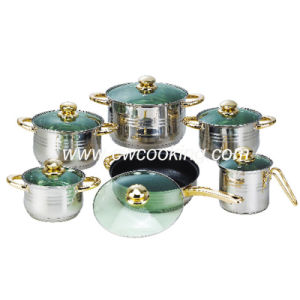 12PCS Stainless Steel Cookware Set - Green Glass Lid pictures & photos