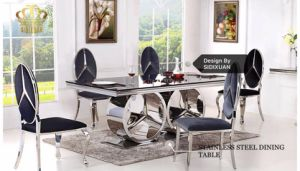High Quality Dining Table Glass Top Modern Dining Table Set Sj916 pictures & photos