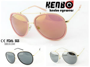 Metal Rim Between Plastic Rim Frame with Eyebrow Km16160 Fashion Sunglasses pictures & photos