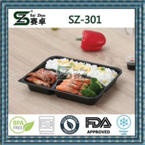 3 Compartment PS Disposable Food Container with Dome Lid pictures & photos