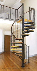 Black Wrought Iron Spiral Staircase Design with Anti-Slip Wood Tread pictures & photos