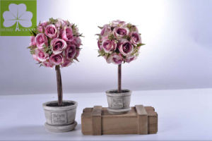Artificial Rose Ball in Paper Mache Pot Decoration pictures & photos