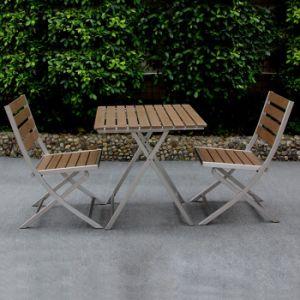 Durable Good Quality Black Metal Outdoor Restaurant Furniture Aluminum Folding Patio Chair Table Set pictures & photos