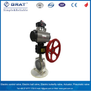 Dn300 Eccentric Butterfly Valve with Pneuamtic Driver and Hand Wheel pictures & photos