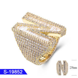 Wholesale New Design Sterling Silver Fashion Fine Jewelry 14K Gold Plated Cubic Zirconia Hip Hop Ring for Men pictures & photos
