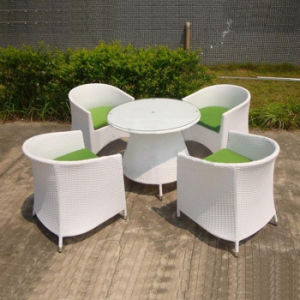White High-End Garden Patio Cafe Party Furniture Rattan Aluminum Frame Chair and Table Set pictures & photos