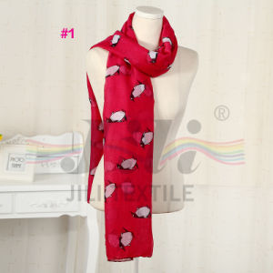 Little Penguin Animals Print Long Winter Soft Polyester Voile Scarf pictures & photos