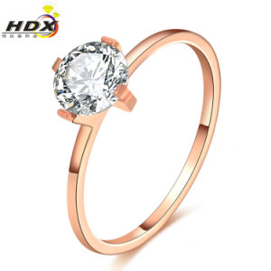 Couples Jewelry Women Fashion Zircon Rose Gold Wedding Ring pictures & photos
