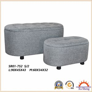 2-PC Oval Shape Linen Storage Chest Ottoman Bench Living Room Furniture pictures & photos