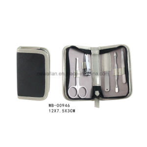 Manicure Tools Black Leather Small Travel Manicure Pedicure Set pictures & photos