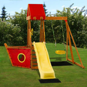Outoor Playground Equipment Wooden Children Swing and Slide Set (03) pictures & photos