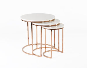 Ravenna Nesting Table in White and Rose Gold / Marble Top End Table / Antique Brass Plate pictures & photos