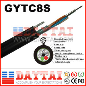 Stranded Steel Wire Fiber Optical GYTC8S Cable for Aerial Duct Application pictures & photos