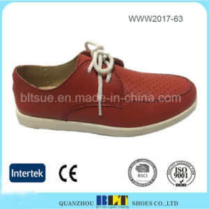 Breathable Leather Upper Rubber Outsole Orange Flat Women Shoes pictures & photos