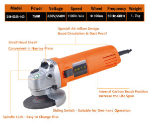 Kynko 750W 100/115/125mm Electric Angle Grinder (S1M-KD38-100) pictures & photos