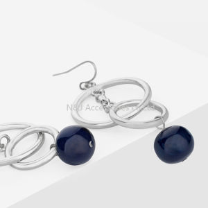 Fashion Silver Plated Alloy Drop Blue Beads Dangle Earrings for Women Jewelry pictures & photos