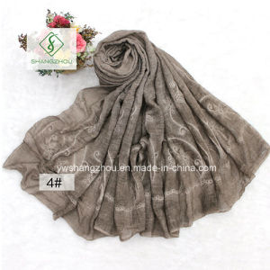 Tie-Dyed Retro Linen Embroidered Shawl Fashion Scarf pictures & photos