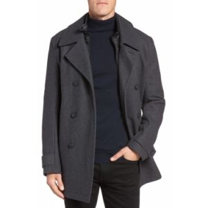 Double Breasted Warm Woolen Winter Long Coat Dark Grey Overcoat pictures & photos