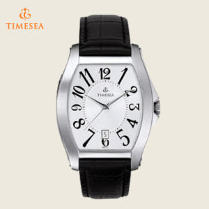 Men′s Stainless Steel Watch with Black Leather Strap 72555 pictures & photos