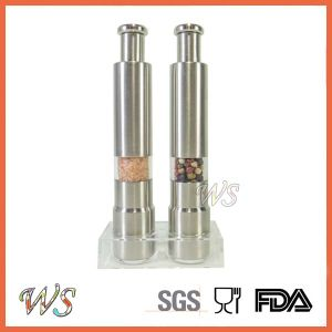 Wsymqly022 Thumb Salt and Pepper Grinder Set with Acrylic Stand Manual Pepper Mill Set Spice Grinder pictures & photos