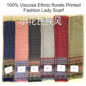 100% Viscose Hot Sale Fashion Ladies Ethnic Florets Printed Scarf pictures & photos