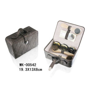 Popular PU Leather Shoe Shine Kit with Shoe Brush pictures & photos