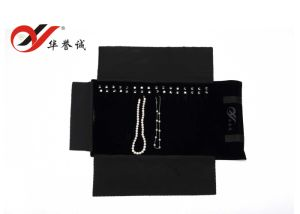 16 Hooks Velvet Necklace Roll Jewelry Roll Pouch pictures & photos