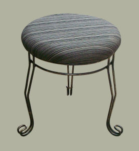 Upholstered Steel Leg Round Foot Stool pictures & photos