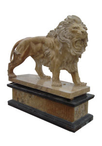 Yellow Travertine Stone Walking Lion on Base (LION200) pictures & photos