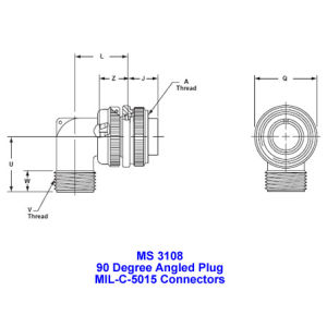 Ms 3108, 90 Degree Angled Plug, Mil-Dtl-5015 Military Connectors, Mil-C-5015 Industrial Connectors