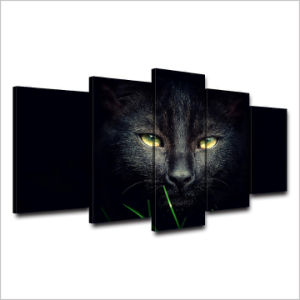HD Printed Black Cat Painting on Canvas Room Decoration Print Poster Picture Canvas Mc-094 pictures & photos