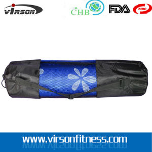 Drawstring Yoga Mat Mesh Bag with Pocket and Strap