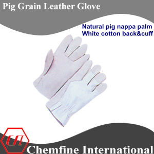 White Cotton Back and Cuff, Full Palm, Pig Grain Leather Work Gloves pictures & photos