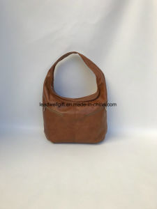 Women Purse Brown Leather Handbag with Pockets Casual Handmade Bags pictures & photos
