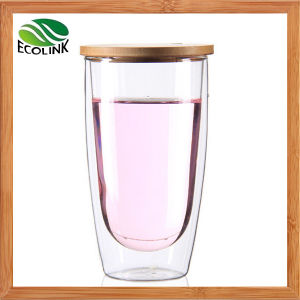 Double Wall Glass Cup with Bamboo Lid 330ml pictures & photos