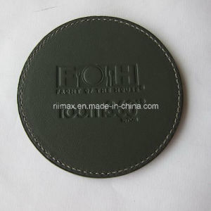 Manufacturer Black Deboss Leather Coaster