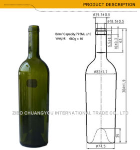 Food Grade Cork Top Taper Glass Bottle 750ml (354) pictures & photos