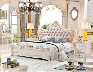 French Luxury Baroque Style Canopy Bedroom Set/European Wooden Carving Kind Size Bed (6019) pictures & photos