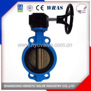 Midline Type Wafer Butterfly Valve with Aluminum Handlever with Blue Color pictures & photos