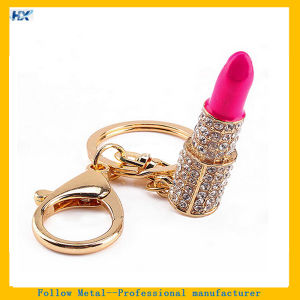 3D Lip Rouge Crystal Attached Fashion Metal keychain